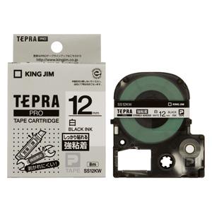 (まとめ) テプラテープ キングジム 「テプラ」PRO SRシリーズ専用テープカートリッジ SS12KW 4971660756759 ●12mm幅 1個【10×セット】