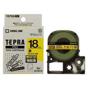 (まとめ) テプラテープ キングジム 「テプラ」PRO SRシリーズ専用テープカートリッジ 黄色 SC18YW 4971660756797 ●18mm幅 1個【10×セット】