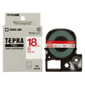 (まとめ) テプラテープ キングジム 「テプラ」PRO SRシリーズ専用テープカートリッジ SS18R 4971660762002 ●18mm幅 1個【10×セット】