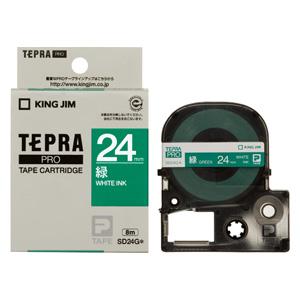 (まとめ) テプラテープ キングジム 「テプラ」PRO SRシリーズ専用テープカートリッジ 緑 SD24G 4971660766802 ●24mm幅 1個【10×セット】
