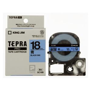 (まとめ) テプラテープ キングジム 「テプラ」PRO SRシリーズ専用テープカートリッジ 青 SC18B 4971660765904 ●18mm幅 1個【10×セット】