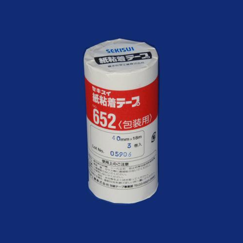 (まとめ) 紙粘着テープ セキスイ 紙粘着テープ K652X08(NO652-40X18) 4901860104708 ●寸法:幅40mm×長18m 1本【20×セット】