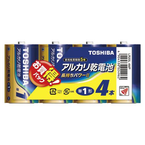 (まとめ) アルカリ乾電池 東芝 アルカリ乾電池 LR20L4MP 4904530024962 ●形式:単1形(1.5V) 1個【20×セット】