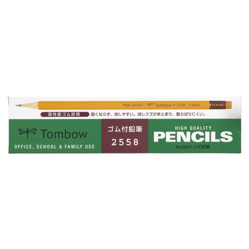 (まとめ) 鉛筆 トンボ鉛筆 ゴム付鉛筆 2558-HB 4901991001006 ●硬度:HB 1打【20×セット】