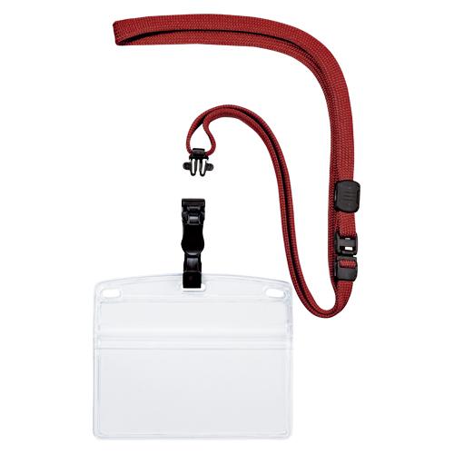 (まとめ) 名札 オープン 吊り下げ名札 脱着式 赤 NL-6-RD 4970115559778 1袋【5×セット】