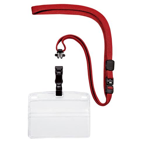(まとめ) 名札 オープン 名刺&IDカード用・吊り下げ名札 脱着式 赤 NL-5-RD 4970115560057 1袋【5×セット】