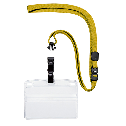 (まとめ) 名札 オープン 名刺&IDカード用・吊り下げ名札 脱着式 黄色 NL-5-YE 4970115560064 1袋【5×セット】