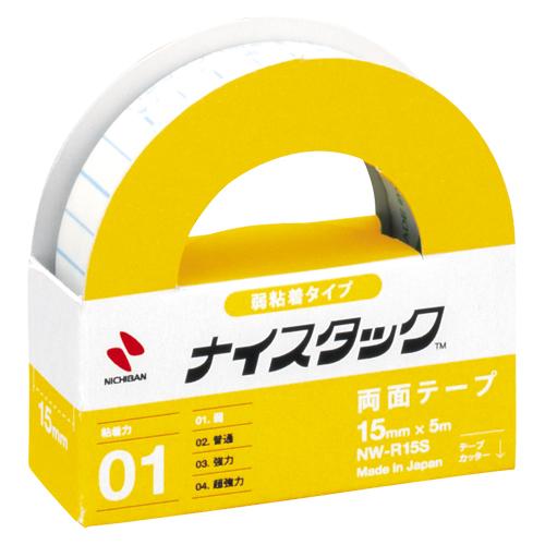 (まとめ) 両面テープ ニチバン ナイスタック[TM]弱粘着タイプ NW-R15S 4987167009403 ●寸法:幅15mm×長5m 1個【50×セット】