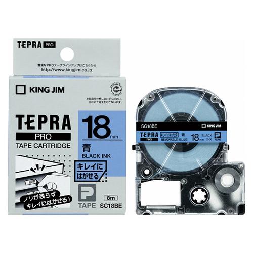 (まとめ) テプラテープ キングジム 「テプラ」PRO SRシリーズ専用テープカートリッジ SC18BE 4971660772742 ●18mm幅 1個【10×セット】