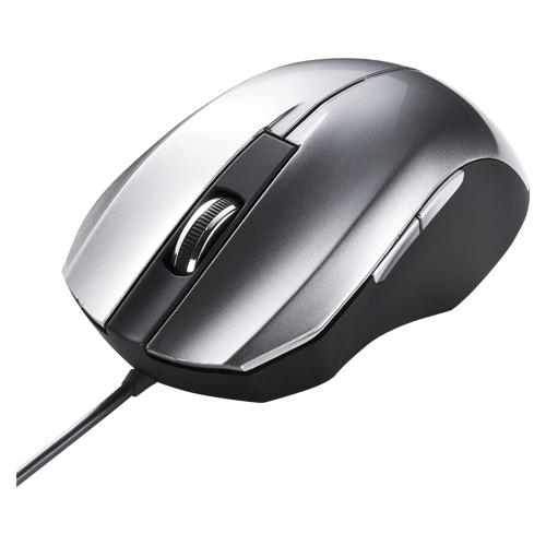 (まとめ) 有線マウス サンワサプライ 静音有線ブルーLEDマウス シルバー MA-BL10S 4969887692196 1個【5×セット】