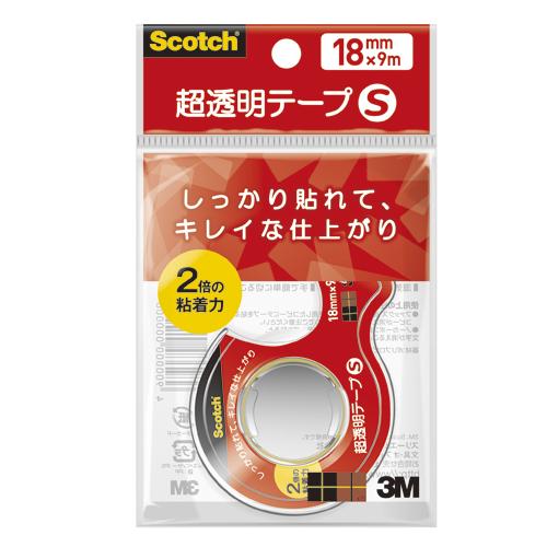 (まとめ) クリアーテープ スリーエム スコッチ[R] 超透明テープS CC1809-D-N 4549395387489 ●寸法:幅18mm×長9m 1巻【100×セット】