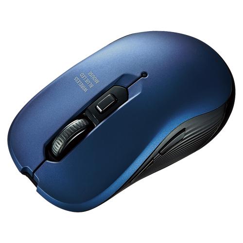 (まとめ) ワイヤレスマウス サンワサプライ ワイヤレスブルーLEDマウス ブルー MA-WBL113BL 4969887695043 1個【5×セット】