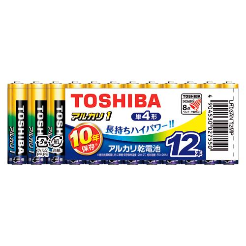 (まとめ) アルカリ乾電池 東芝 アルカリ乾電池アルカリ1 LR03AN 12MP 4904530027550 ●形式:単4形(1.5V) 1個【20×セット】