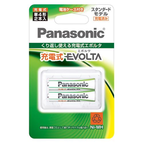 (まとめ) 充電池 パナソニック 充電式ニッケル水素電池EVOLTA BK-4MLE/2BC 4549980139004 ●形式:単4形 1個【10×セット】