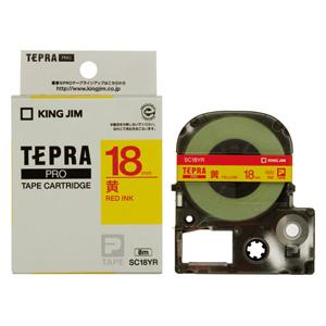 (まとめ) テプラテープ キングジム 「テプラ」PRO SRシリーズ専用テープカートリッジ SC18YR 4971660758920 ●18mm幅 1個【10×セット】