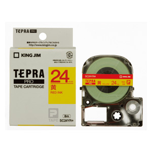 (まとめ) テプラテープ キングジム 「テプラ」PRO SRシリーズ専用テープカートリッジ SC24YR 4971660758937 ●24mm幅 1個【10×セット】