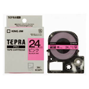 (まとめ) テプラテープ キングジム 「テプラ」PRO SRシリーズ専用テープカートリッジ ピンク SC24P 4971660760930 ●24mm幅 1個【10×セット】