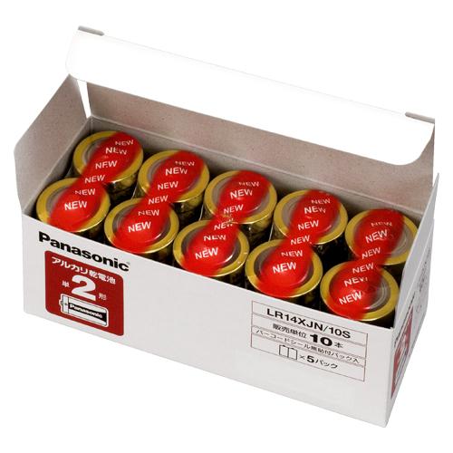 (まとめ) アルカリ乾電池 パナソニック アルカリ乾電池 LR14XJN/10S 4984824733930 ●形式:単2形(1.5V) 1箱【10×セット】