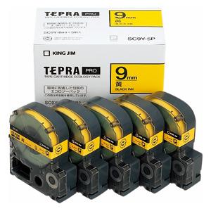 (まとめ) テプラテープ キングジム 「テプラ」PRO SRシリーズ専用テープカートリッジ SC9Y-5P 4971660763382 ●9mm幅 1箱【5×セット】