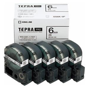 (まとめ) テプラテープ キングジム 「テプラ」PRO SRシリーズ専用テープカートリッジ SS6K-5P 4971660763252 ●6mm幅 1箱【5×セット】
