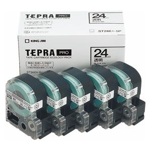 (まとめ) テプラテープ キングジム 「テプラ」PRO SRシリーズ専用テープカートリッジ ST24K-5P 4971660763368 ●24mm幅 1箱【5×セット】
