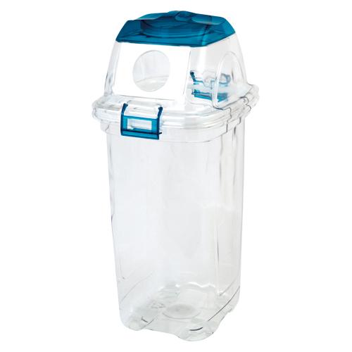 (まとめ) 分別用ゴミ箱 セキスイ 透明エコダスター ブルー TPDR45B 4580167562017 ●用途:ビン用 1個【5×セット】