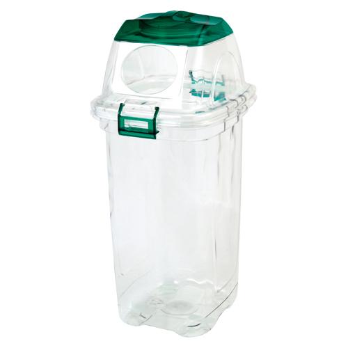 (まとめ) 分別用ゴミ箱 セキスイ 透明エコダスター グリーン TPDD45G 4580167561966 ●用途:ペットボトル用 1個【5×セット】