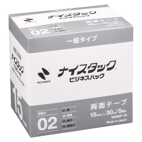 (まとめ) 両面テープ ニチバン ナイスタック[TM]一般タイプ ビジネスパック NWBP-15 4987167046415 ●寸法:幅15mm×長30m 1箱【5×セット】