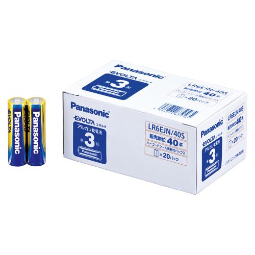 (まとめ) アルカリ乾電池 パナソニック EVOLTAアルカリ乾電池 LR6EJN/40S 4984824832565 ●形式:単3形(1.5V) 1箱【5×セット】