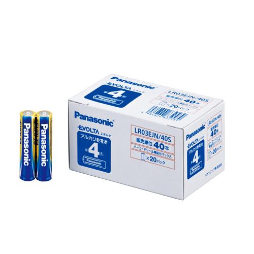(まとめ) アルカリ乾電池 パナソニック EVOLTAアルカリ乾電池 LR03EJN/40S 4984824832589 ●形式:単4形(1.5V) 1箱【5×セット】