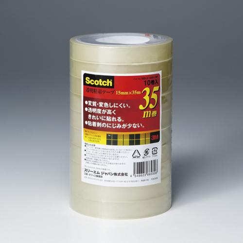 (まとめ) クリアーテープ スリーエム スコッチ[R] 透明粘着テープ 500シリーズ 500-3-1535-10P 4548623665306 ●寸法:幅15mm×長35m 1本【20×セット】