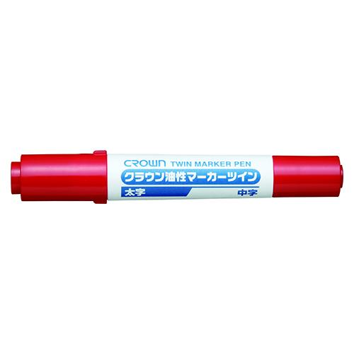 (まとめ) 油性マーカーペン クラウン 油性マーカーツイン 赤 CR-YK2-R 4953349002807 1本【100×セット】