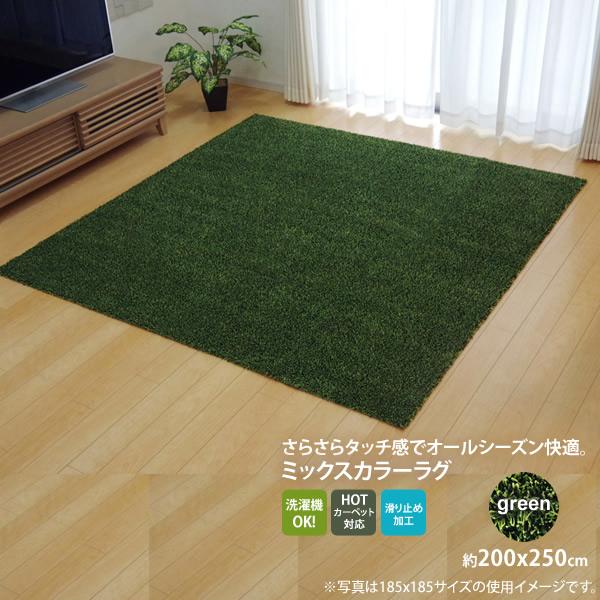 【マラソンでポイント最大41倍】グリーン(green) :200×250cm ★ラグ カーペット 3畳 洗える タフト風 裏:すべりにくい加工 (ホットカーペット対応)