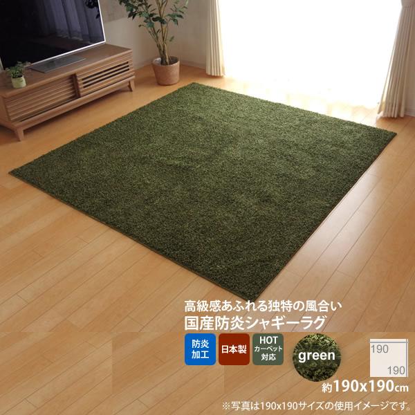 グリーン(green) :190×190cm ★ラグ カーペット 2畳 防炎 抗菌 防臭 防ダニ シャギー タフト 国産 無地