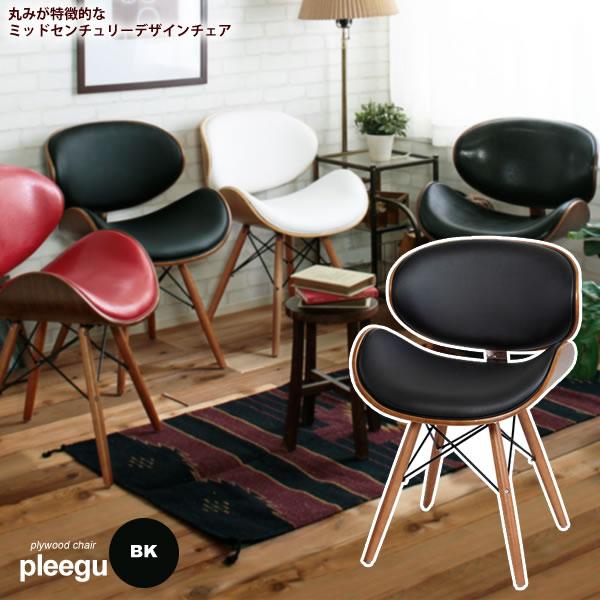 ダイニングチェア 椅子 イス いす ワークチェア デスクチェアー : ブラック【pleegu】 ブラック(black) (ナチュラル) ミッドセンチュリー プライウッド