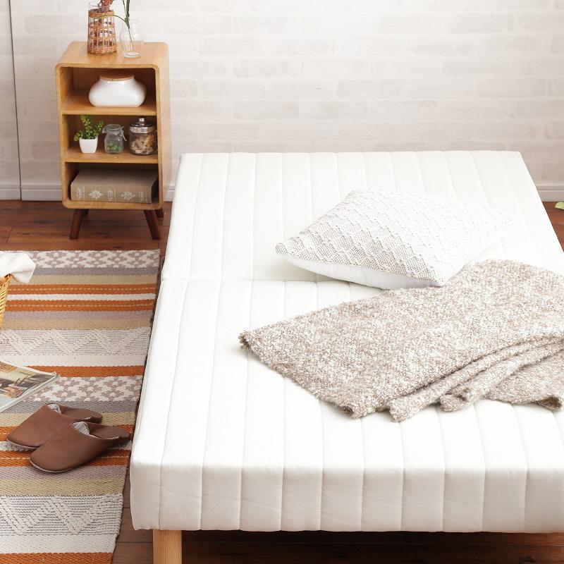 脚付きマットレスベッド シングル S ボンネルコイル ヘッドレスベッド : ホワイトWH【caled】 ホワイト(white) 天然木脚 セパレート 分割式