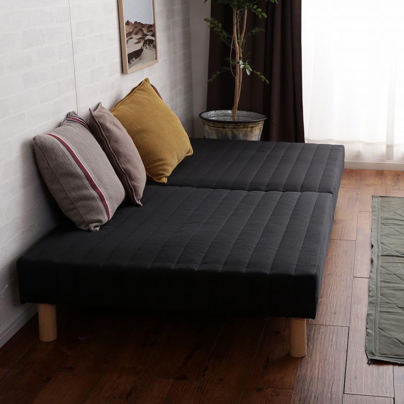 脚付きマットレスベッド セミダブル SD ボンネルコイル ヘッドレスベッド : ブラックBK【caled】 ブラック(black) 天然木脚 セパレート 分割式