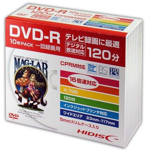 HIDISC DVD-R 録画用5mmスリムケース10P HDDR12JCP10SC
