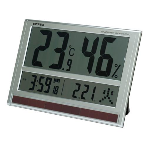 【マラソンでポイント最大43倍】EMPEX ジャンボソーラー温湿度計 電波時計 超大型液晶 太陽電池 室内用 置掛兼用 ソーラー TD-8170