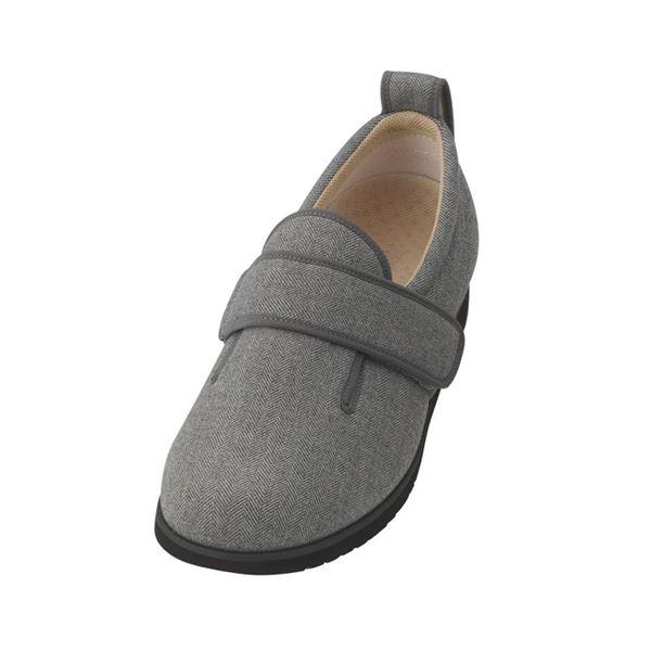 介護靴 施設・院内用 ダブルマジック2ヘリンボン 5E(ワイドサイズ) 7023 両足 徳武産業 あゆみシリーズ /5L (27.0~27.5cm) グレー