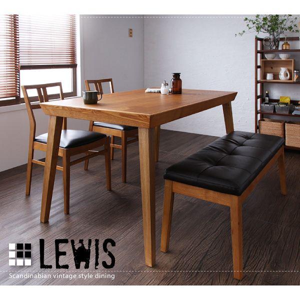 ダイニングセット 4点セットA(テーブル+チェア×2+ベンチ)【LEWIS】天然木北欧ヴィンテージスタイルダイニング【LEWIS】ルイス【代引不可】