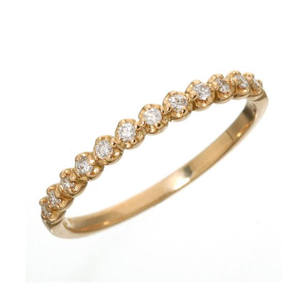 K18 ダイヤハーフエタニティリング ピンクゴールド 17号 指輪