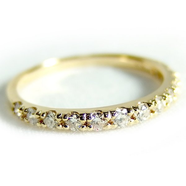 ダイヤモンド リング ハーフエタニティ 0.3ct 10号 K18 イエローゴールド ハーフエタニティリング 指輪