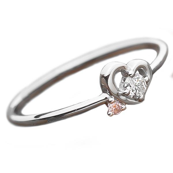 【鑑別書付】プラチナPT950 天然ダイヤリング 指輪 ダイヤ0.05ct ピンクダイヤ0.01ct 8.5号 ハートモチーフ