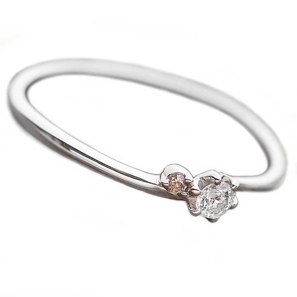 【鑑別書付】プラチナPT950 天然ダイヤリング 指輪 ダイヤ0.05ct ピンクダイヤ0.01ct 11号