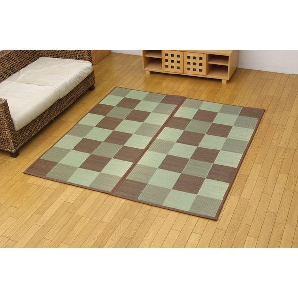 純国産 い草花ござ 『STブロック』 ブラウン 江戸間6畳(約261×352cm)(裏:ソフトテック15mm)