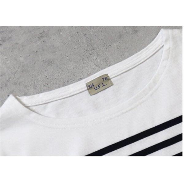フランスタイプ ボーダーシャツ JU048YN ホワイト×ネイビー S
