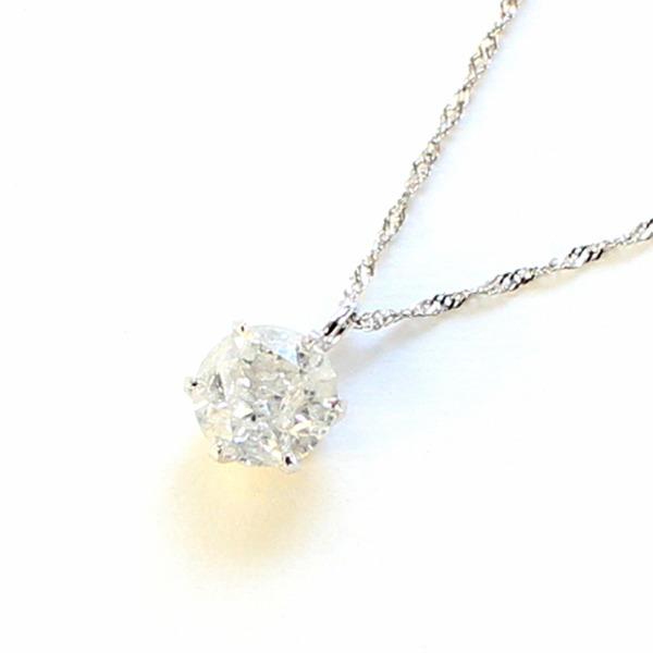 プラチナ0.7ct一粒石ダイヤモンドペンダント【代引不可】
