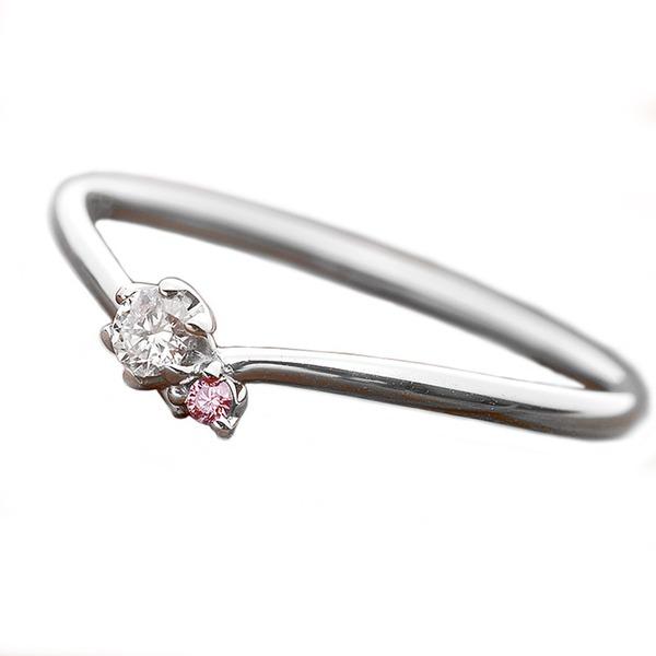 【鑑別書付】プラチナPT950 天然ダイヤリング 指輪 ダイヤ0.05ct ピンクダイヤ0.01ct 12.5号 V字モチーフ