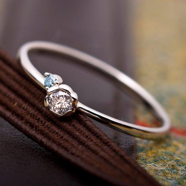 【鑑別書付】プラチナPT950 天然ダイヤリング 指輪 ダイヤ0.05ct アイスブルーダイヤ0.01ct 8号 フラワーモチーフ